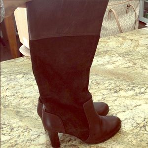 Zara Brown Leather and Suede Tall Heeled Boots